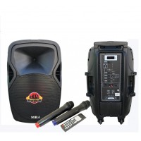Караоке Колона MBA Q-15. 750W Вграден Акумулатор MP3 Плеър FM, Bluetooth, 2 Безжични Микрофона