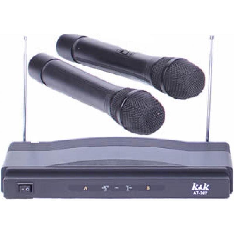 Безжичен Микрофон AT-307, Два Микрофона, Обхват до 100 метра
